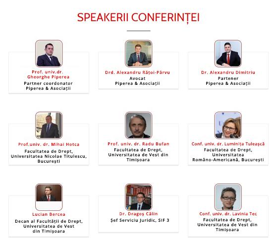 Speakeri Conferinţa Dreptul Afacerilor 2017