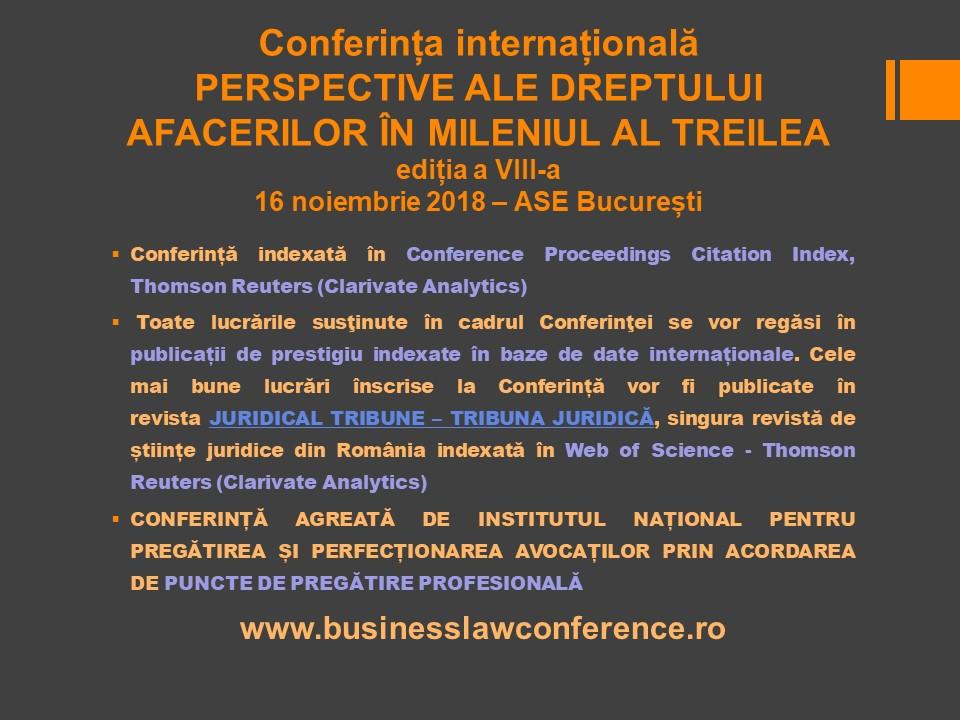 """Conferința Internațională """"Perspective ale Dreptului Afacerilor în Mileniul al Treilea"""", ediția a VIII-a. București, 16 noiembrie 2018"""